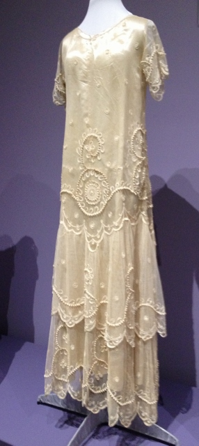 1920s wedding gown.  Asymmetrical hem.