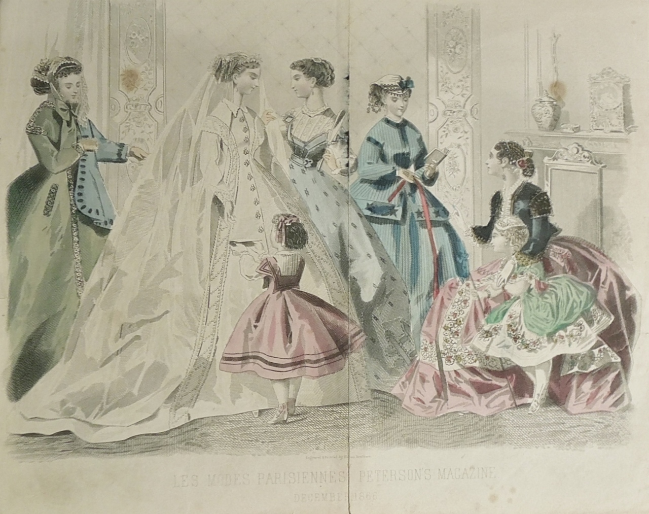 "This hand-tinted fashion plate from ""Les Modes Parisiennes:  Peterson's Magazine,"" includes a bride. 1866."