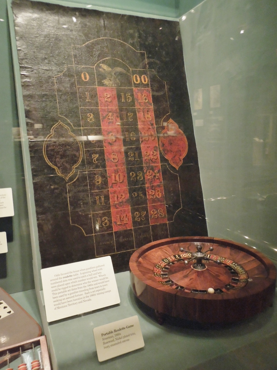 A portable roulette game from the 1860s.