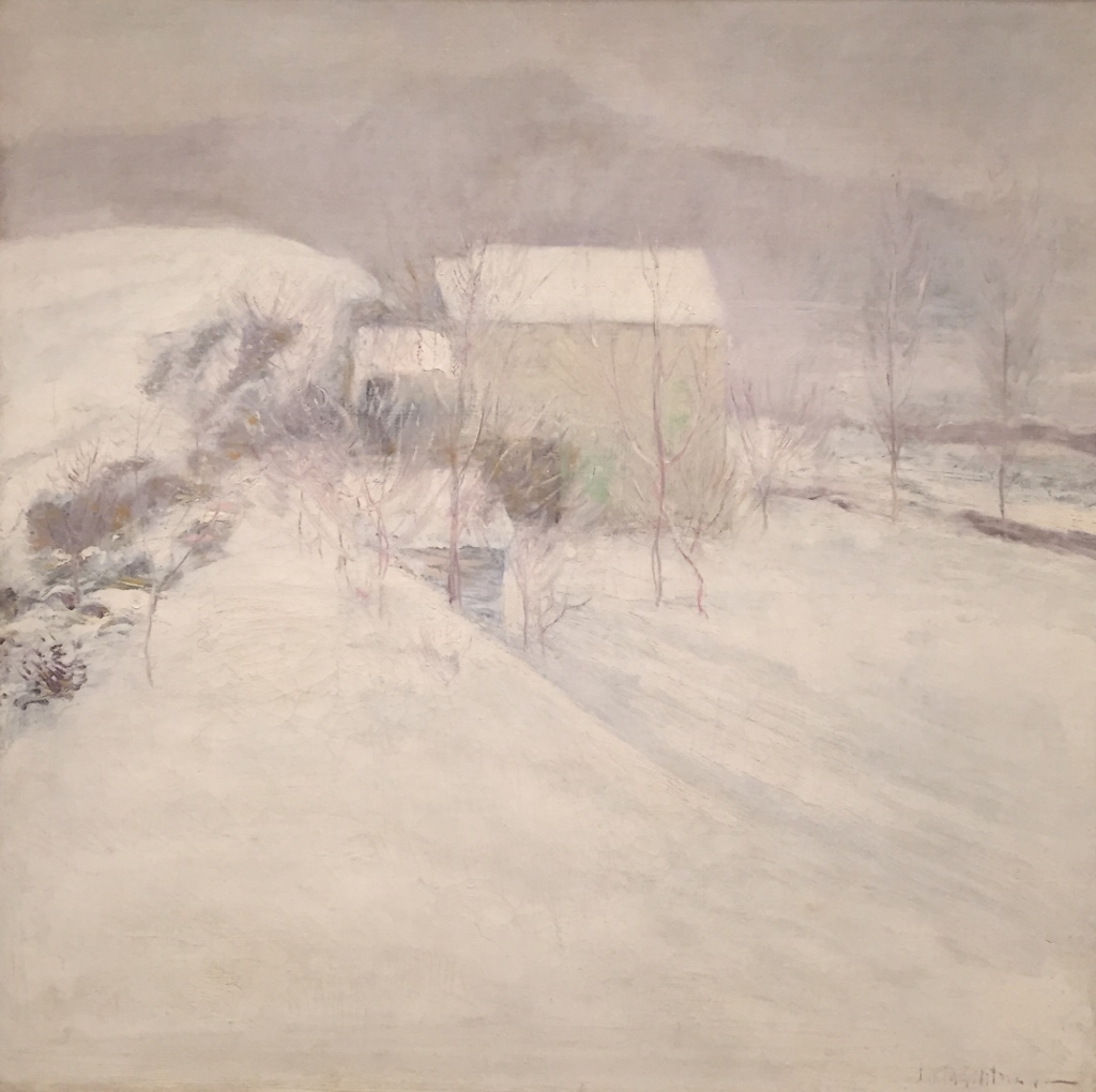 """The artist's home. """"Snow"""" by John Henry Twachtman."""
